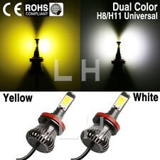 Pair Car LED H8 H9 H11 Fog Driving DRL Bulb Light White Yellow 3000K Dual Color