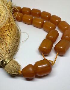 Antique Huge Amber Bakelite Rosary Butterscotch Prayer Beads 360 Gr
