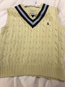 Polo Ralph Lauren Boys 6 Vest Sweater Yellow Cotton Cable Knit