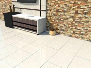 JOB LOT 15m2 Floor Tiles Cream Marble Effect Polished Porcelain 600x900mm