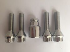 M12 x 1.5, 33mm extended thread, tapered seat alloy wheel locking bolts. Set of
