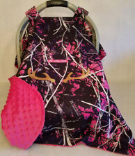 Infant Car Seat Canopy Muddy Girl Camo Baby! Pink Minky Lining Custom Embroidery