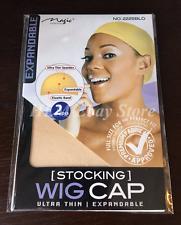 2 Pcs Wig Cap Wig Liner Wig Stocking Cap Weave Neutral Beige Nylon Stretch