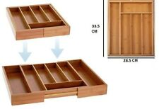Legno di bamboo 7 Scomparto Posate Vassoio Cassetto Portaoggetti Storage Tidy allungabile