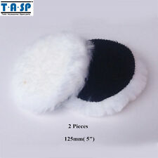 "TASP 2PC 125mm 5"" Wool Polishing Bonnet Buffing Pad Hook Loop For Car Polisher"