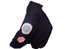Sarouel Femme Pantalon Ethnique Aladin Harem Pant 100% Coton noir