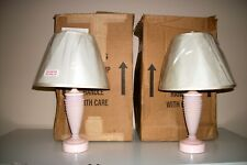 New In Box Martha By Mail Pink Milk Glass Hobnail Collectible Set of 2 Lamps