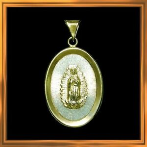 Lovely sterling silver and 14k yellow gold Guadalupe estate pendant M-F