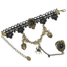 Lace Bracelet Flower Rings Gothic Lolita Punk Party Belly Dance BT