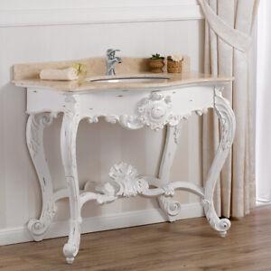 Waschtischkonsole Luigi Filippo Shabby Chic Stil Badmöbel antik weiß Marmorplatt