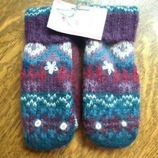 Handmade Wool/wool blend Sweater Mittens Size M fleece lined - lovely and warm!