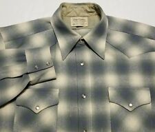 Vintage 1960-70s Pendleton Gray Beige Shadow Western Made in USA Mens XL Shirt