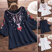 ZANZEA Women Lantern Sleeve Floral Print Shirt Tops Round Neck Ethnic Blouse US