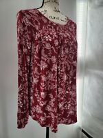Knox Rose Womens Red Floral Long Sleeve Round Neck Blouse Top Size XS