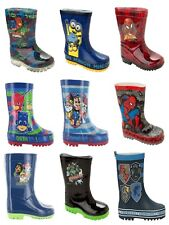 BOYS OFFICIAL CHARACTER WELLIES WELLINGTON RAIN SNOW WELLY BOOTS KIDS SIZE 4-2