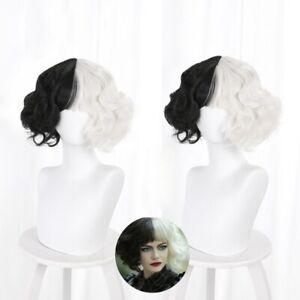 Cruella de Vil Cosplay Hair Wig Heat Resistant Synthetic Halloween Costume Prop