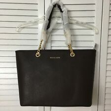 Michael Kors Jet Set Travel Chain Multifunction Saffiano Leather Tote Bag Coffee