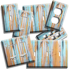 Rustic Aged Worn Out Blue Reclaimed Beach Wood Light Switch Plates Outlet Decor