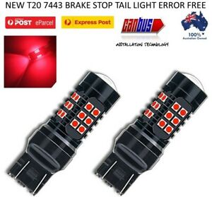 2X T20 7443 7440 RED LED BRAKE STOP TAIL LIGHT BULBS GLOBE BRIGHT ERROR FREE