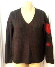 Stitch Fix Colour Works Womens Sweater Size Small Gray Ribbed Rose Applique New