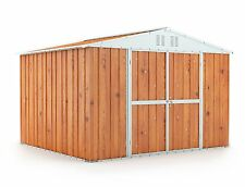 Garden Shed 3.07m x 2.69m x 2.17m Wood Finish 3x3 Storage Sheds Double Door NEW