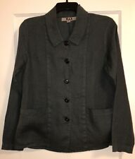 Dark Forest Green FLAX Long Sleeve Thick Linen Button Down Shirt Size P