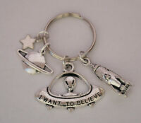 UFO Alien Spaceship I Want To Believe X Files Silver Keyring Sci-Fi Gift UK