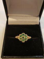 Beautiful 9ct Gold Emerald Flower Ring