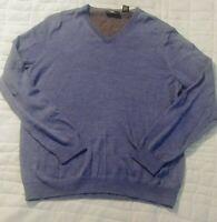 Calvin Klein Men's Extra Fine Merino Wool V-Neck Sweater Size Large Blue
