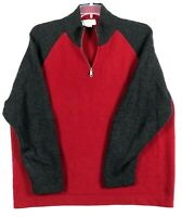 VTG J CREW Wool 1/4 Zip Pullover Sweater Red Gray Color Block Mens XL Runs Big