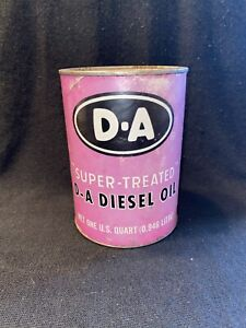 D-A DIESEL OIL SUPER TREATED LUBRICANT ONE QUART CAN INDIANAPOLIS INDIANA FULL B