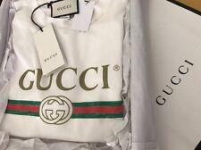 Gucci Vintage Spr 1980 Appliquéd Distressed Logo Print White T-Shirt Wms Large