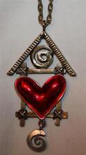 Delightful Openwork Brasstone Birdhouse Shiny Red Heart Dangles Pendant Necklace