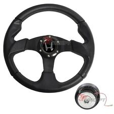 For 96-00 Honda Civic EK JDM 320mm 6-Bolt Black PVC Steering Wheel & Hub Adapter