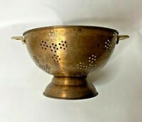 Vintage Colander Strainer Copper w Brass Handles Primitive Condition Large Size