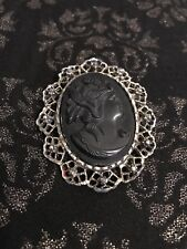 Vintage Black Mourning Cameo Pin / Pendant Gold Tone Frame Large Cameo Brooch