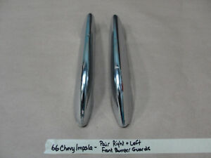 1966 Chevy Impala RIGHT & LEFT CHROME FRONT BUMPER GUARDS TITS *SOLID*