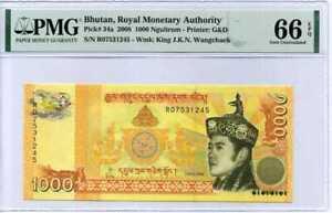 Bhutan 1000 Ngultrum 2008 P 34 a GEM UNC PMG 66 EPQ