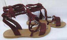 Asos size 4 (37) burgundy suede ankle tie flat summer sandals new unworn