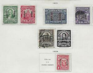 6 Canal Zone Stamps from Quality Old Antique Album 1921-1924