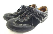 Clarks Un-Structured Black Leather Lace-Ups US Women's 9.5 Fast Shipping LOOK