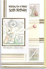 Male Birthday Card Wishing You A Happy 30th Birthday. Teddy Playing Cricket.