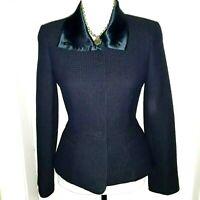 ARMANI COLLEZIONI Waffle Weave Peplum Hem Navy/Dk Blue Virgin Wool Jacket/Blazer
