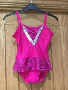 Bright Pink Lycra Skirt Leotard Swim Suit Modern Dance Costume Size 1 Child S