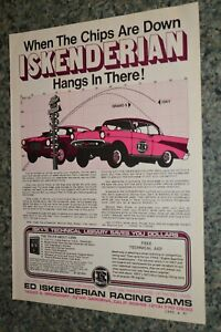 ★★1973 ISKY DRAG RACING CAMS ORIGINAL ADVERTISEMENT AD 73 57 CHEVY AT THE TREE