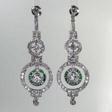 Art Deco Style Green Baguette Earrings Solid 925 Sterling Silver Butterfly Fast