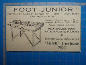 FOOT JUNIOR BABY FOOT BABYJOU PARIS  publicité ancienne 1954 advert