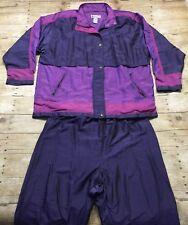 VTG 90s Windbreaker Jacket Pants Tracksuit Womens XL Large Shoulder Pads LAVON