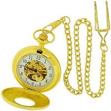 Reloj de bolsillo Boxx Mecánico Esqueleto oro tono Caballeros en 12 pulgadas cadena Boxx189