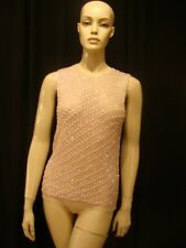 50s Vintage Pink Shell Sequins & Beads Top Dangles S